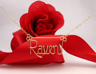 personalized name necklace in gold wire