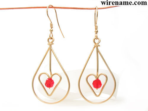 Teardrop-Earrings-heart-red-crystal-gold-wire- with Birthstone Earrings
