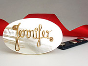 mother of pearl personalized brooch