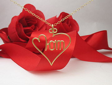 Mom Heart Pendant in 14k Gold Filled Wire or Sterling Silver wire