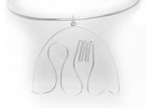 Spoon & Fork Pendant, 2 x 2.5 inches