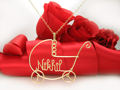 Baby Name necklace pendant