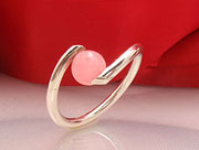 Ring Salmon Pink silver Wire Jewelry gold