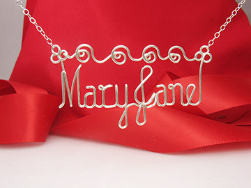 Waves Design - Two names silver necklace