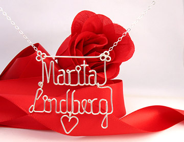 personalized name necklace wire jewelry -hanging heart charm
