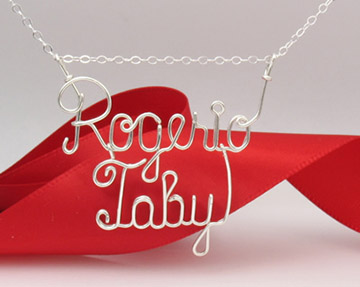 personalized name Script necklace in wire