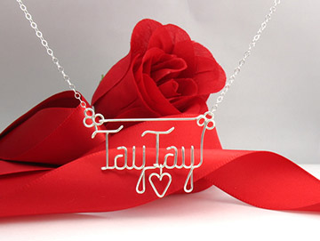 personalized name necklace wire jewelry - hanging heart charm