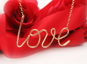 love necklace Tiffany style in heavy 16 gauge gold wire