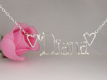personalized name necklace, wire jewelry