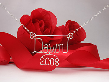personalized name necklace, wire jewelry - 2008 charm