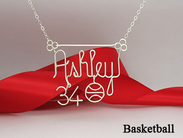 personalized name pin Wire Jewelry - Basketball charm