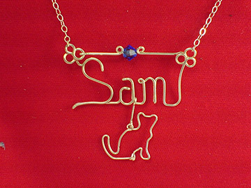 personalized name necklace in wire - cat charm