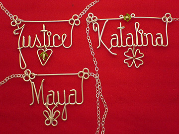 personalized name necklace in wire - /Clover_Heart_Butterfly_charm