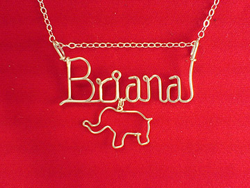 personalized name necklace - Elephent charm