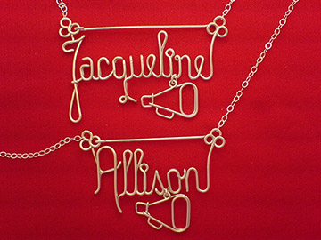 personalized name necklace in wire - cheerleader megaphone charm