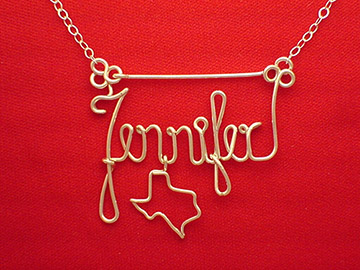 personalized name necklace in wire _ Texas charm