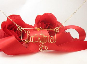 personalized name necklace - pow charm