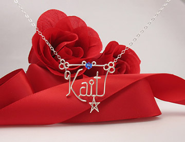 personalized name necklace - star charm