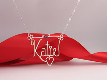 personalized name necklace in wire